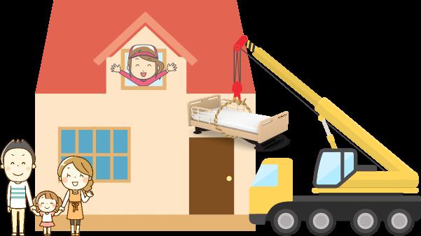 ベッドのクレーン吊り作業